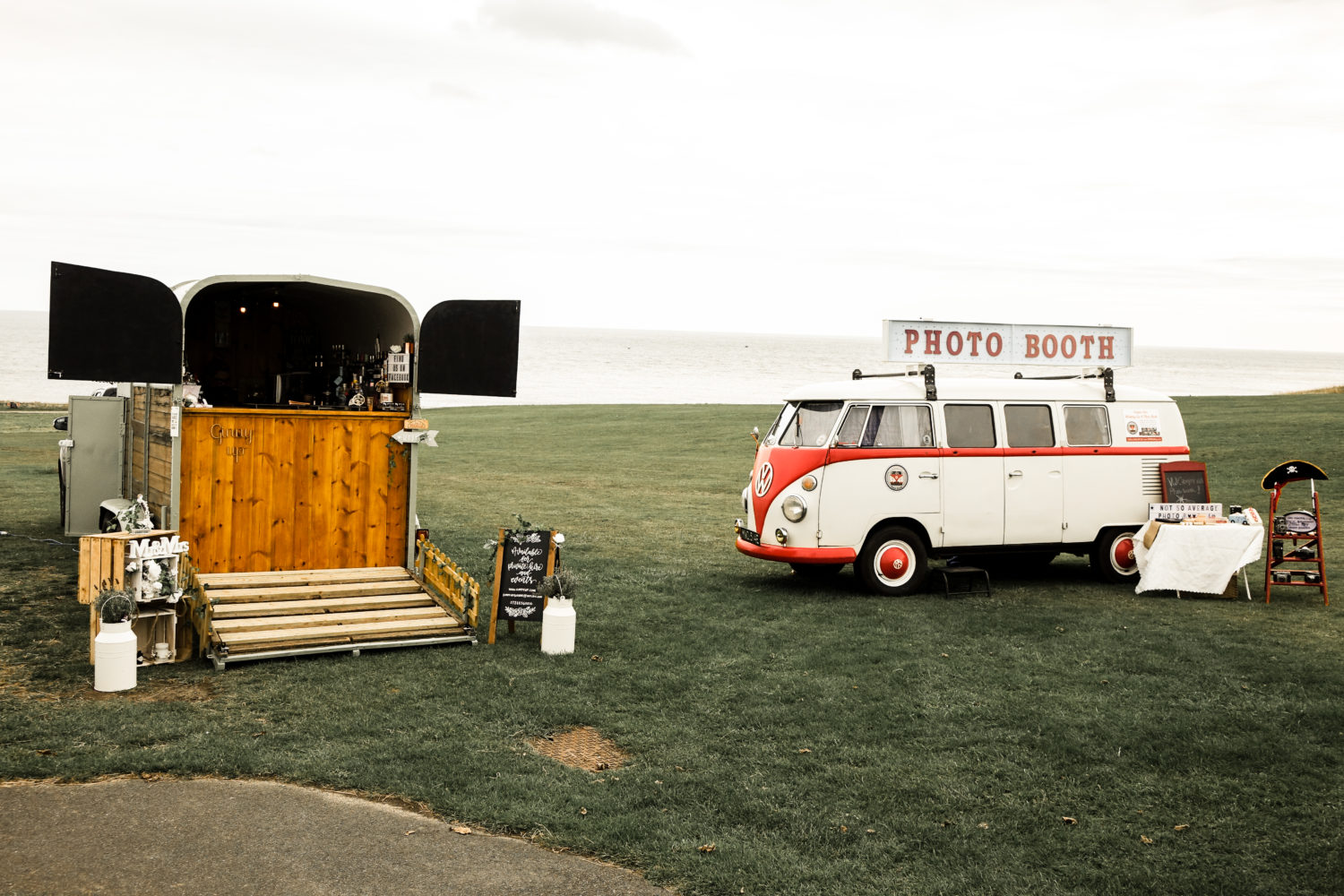 Coverted Horse Box Gin Bar and VW Splitscreen Photobooth at Seaside Sunderland North East Coast
