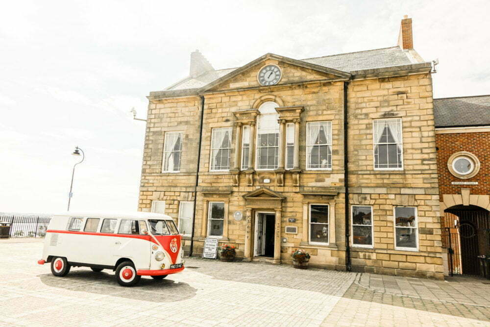 North Sheilds Registry office with beautiful VW Splitscreen campervan wedding car