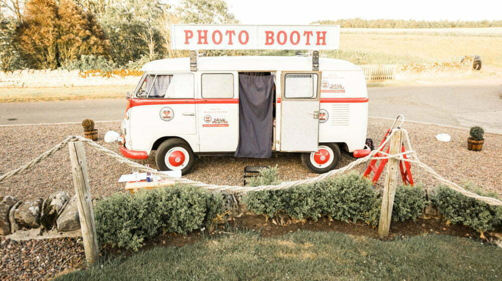 Campervan Photo Booth at doxford barns country estate wedding reception