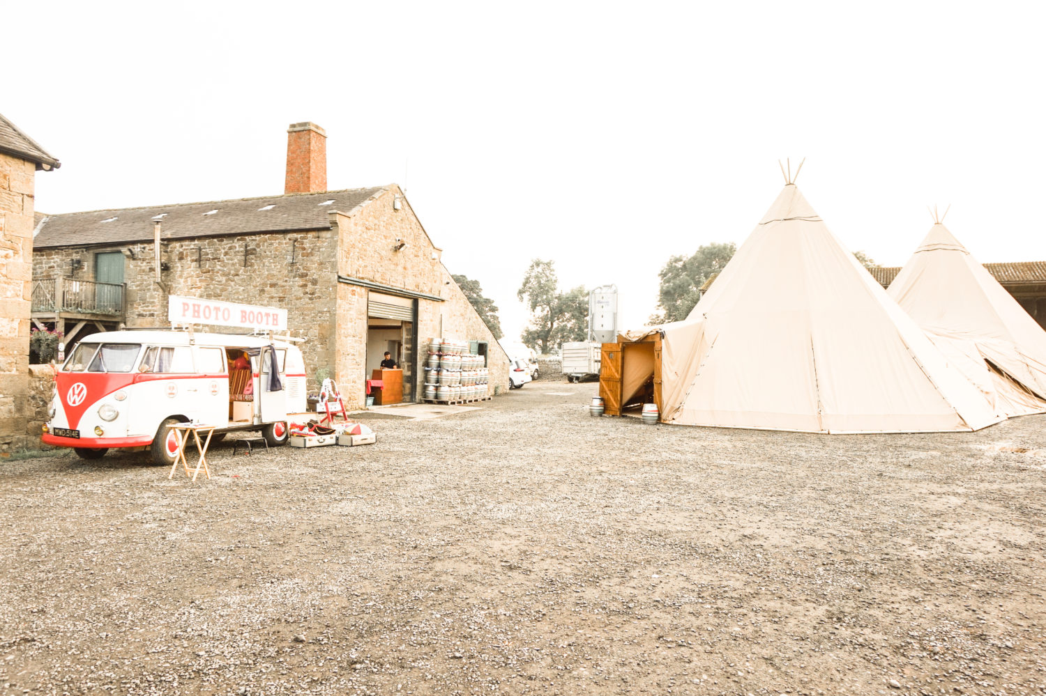 Tipi Wedding at Brewery with splitscreen VW photobus