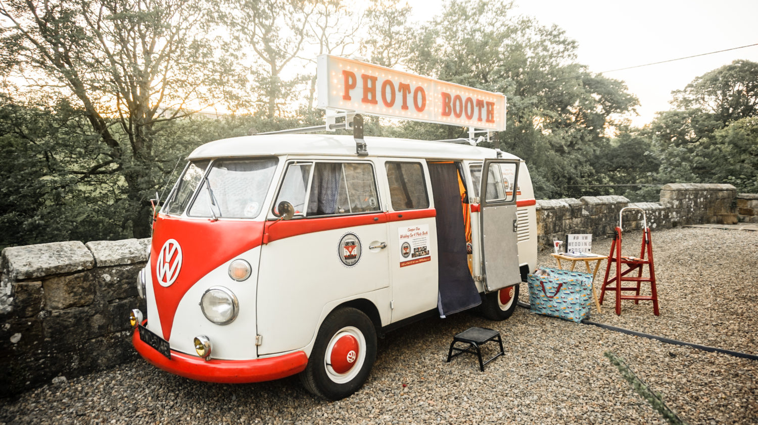 Caravan photo booth wedding sunset photo