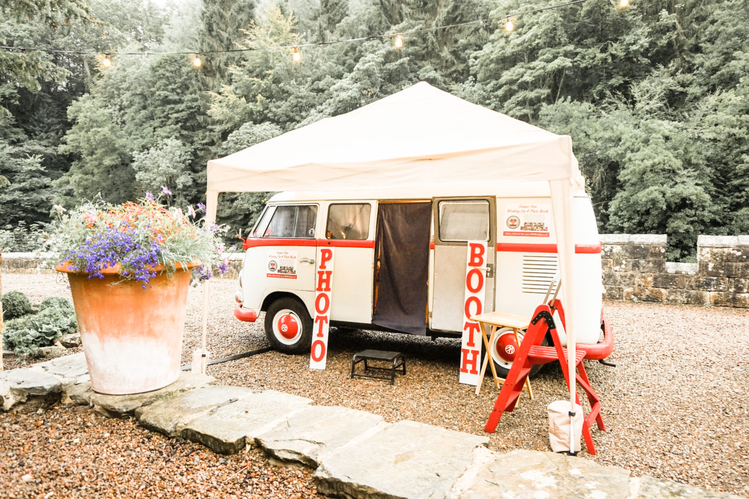 rainy day wedding vw photo booth