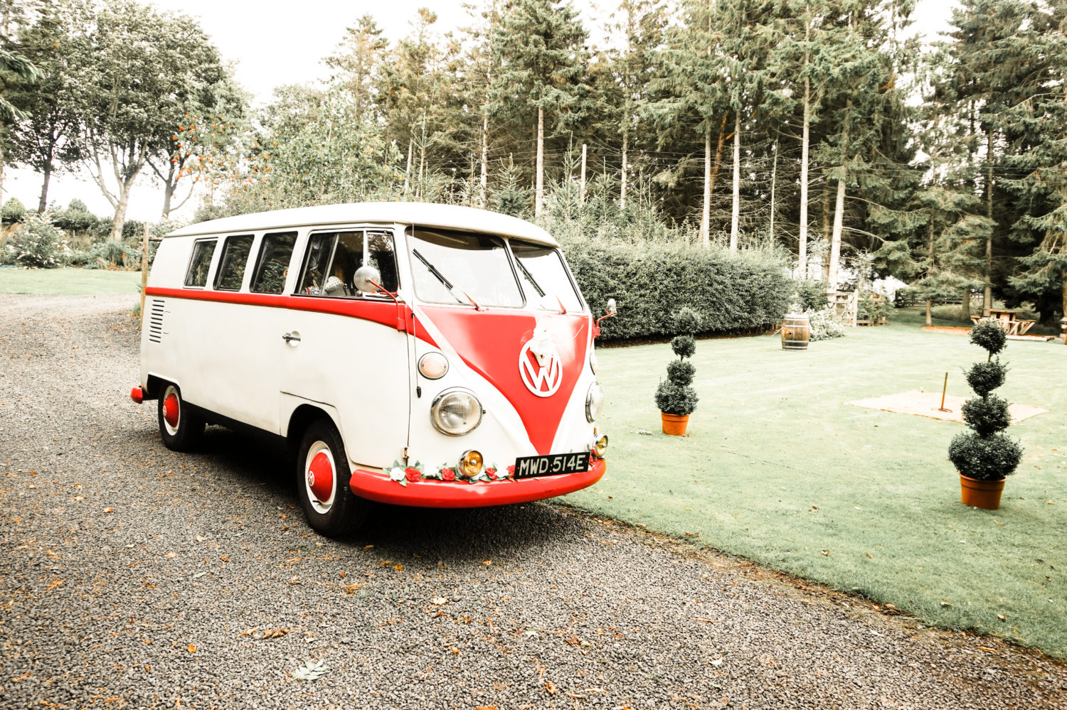 Classic VW Campervan Summer Garden Wedding Northumberland
