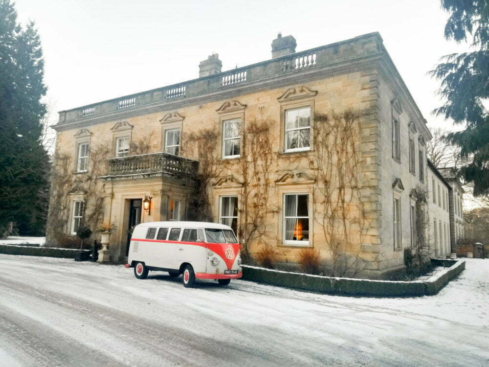 Classic VW Wedding Car Front of Eshott Hall country house Morpeth Northumberland