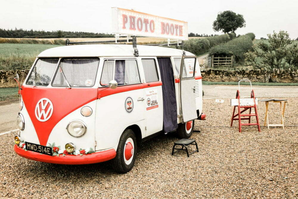 VW Camper at countryside wedding venues north east