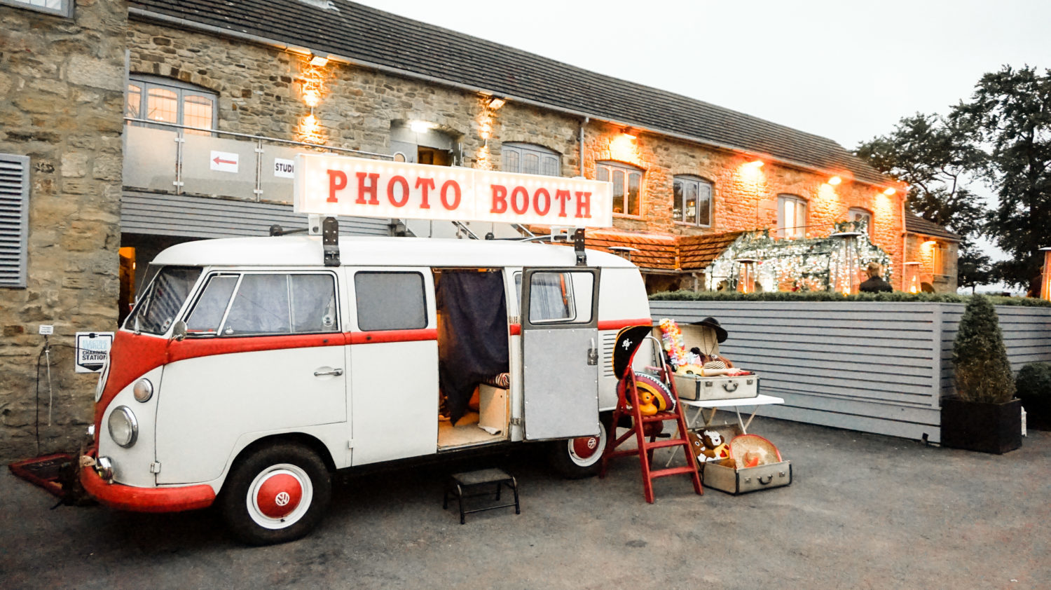 VW Photo Booth set up outside Derwent Manor Hotel Northumberland Countryside