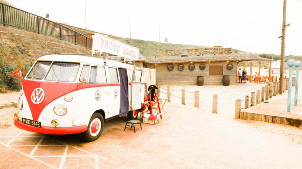 VW Photo Booth at beach wedding crusoe's Tynemouth