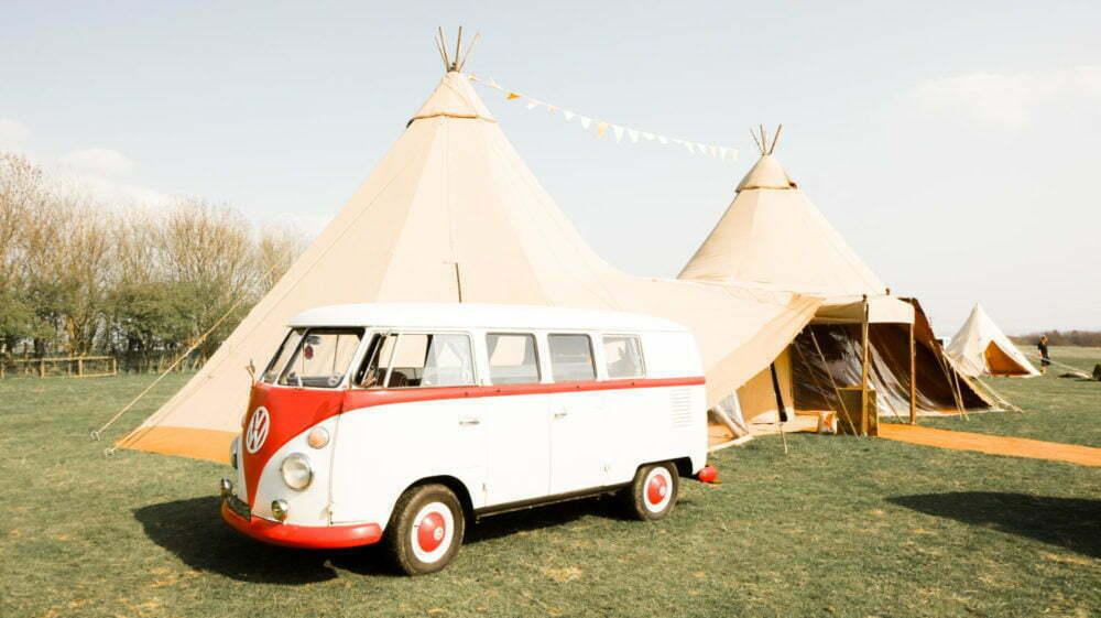 1967 Type 2 VW Camper Van in front of Tipi Wedding North East