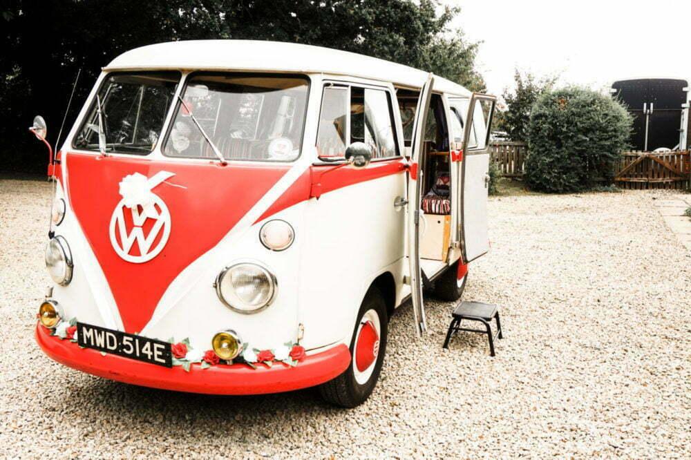 VW Split Screen Bus Cargo Doors Open Wedding Car