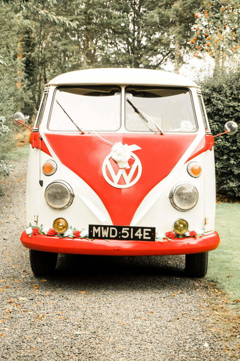 Red and White VW Splitty Van at Wedding