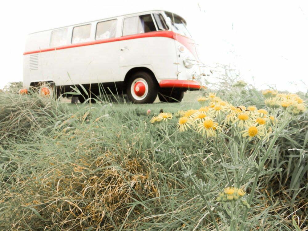 Beautiful Vintage Volkswagen Camper Van Yellow Flowers