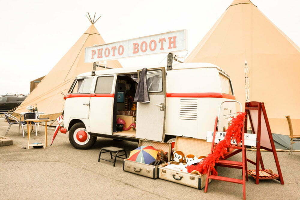 VW Photo Booth backdrop of a festival tipi wedding