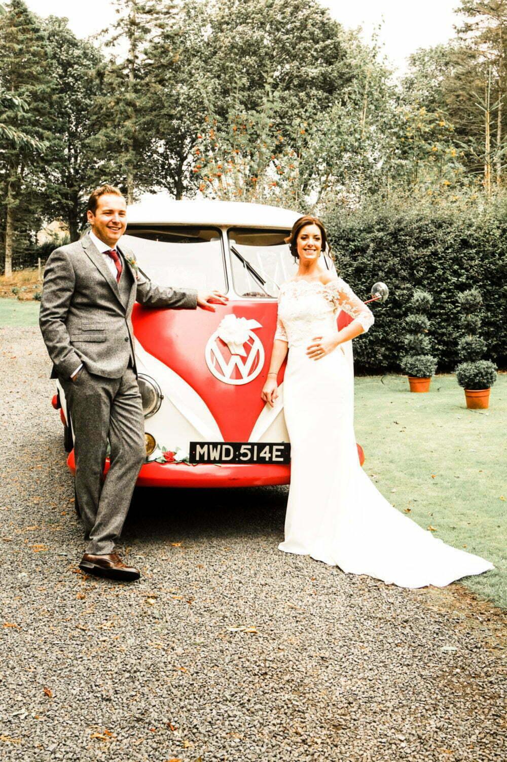 Bride Groom in front of a classic vw camper van