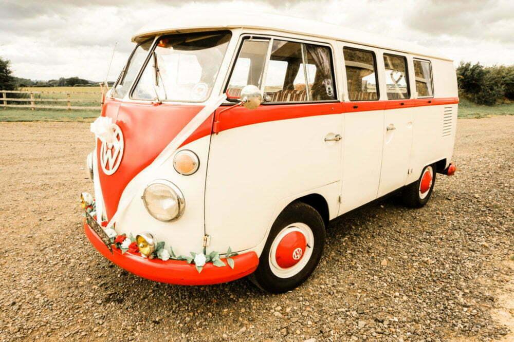 Close up shot vw wedding car