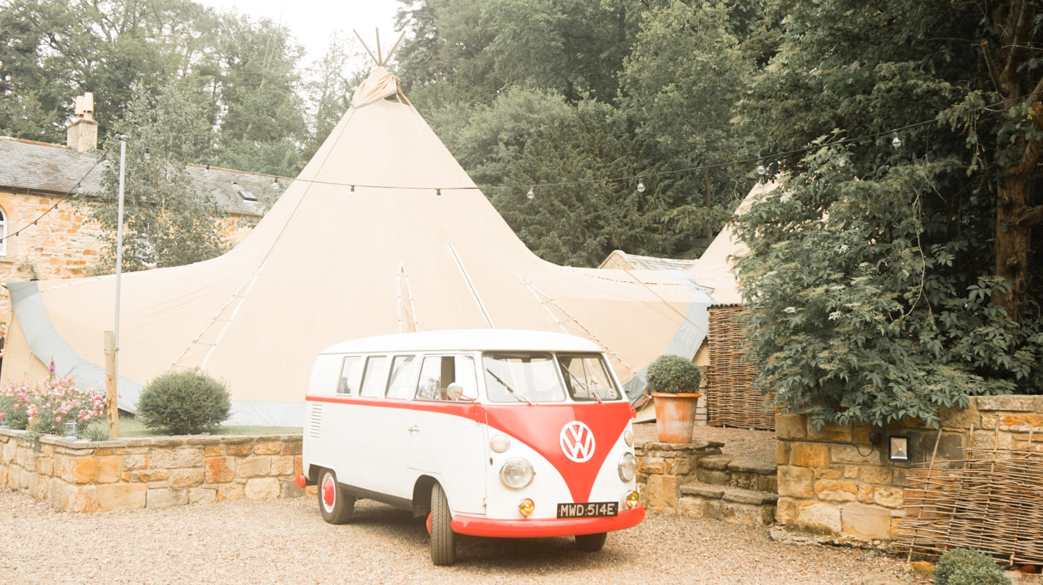 VW Camper Van in Front of Titp Wedding Brinkburn Priory Northumberland