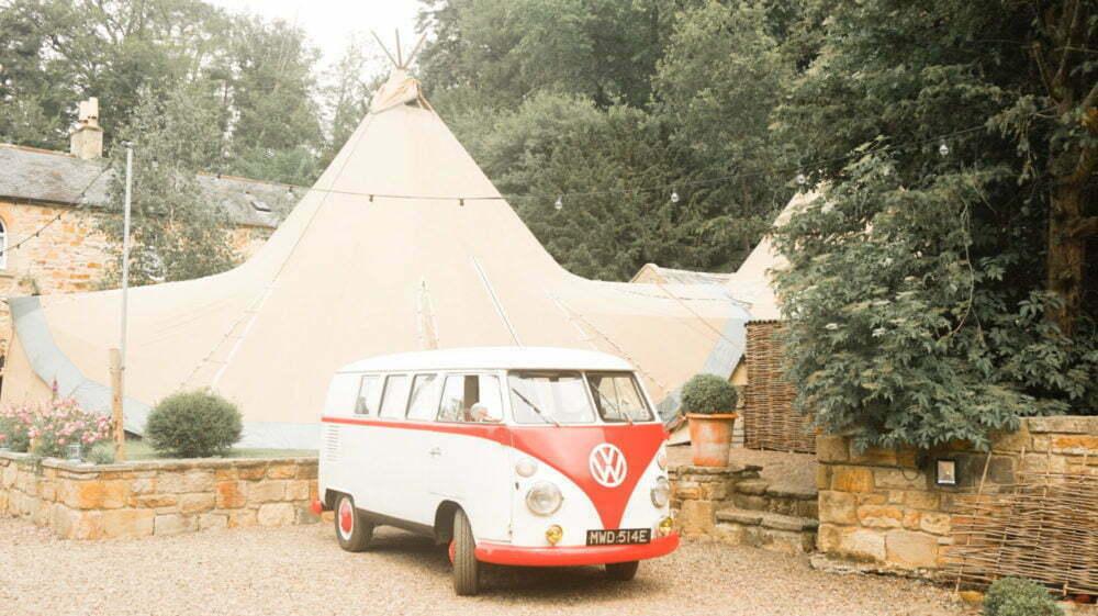 VW Camper Van in Front of Titp Wedding Brinkburn Priory Northumberland