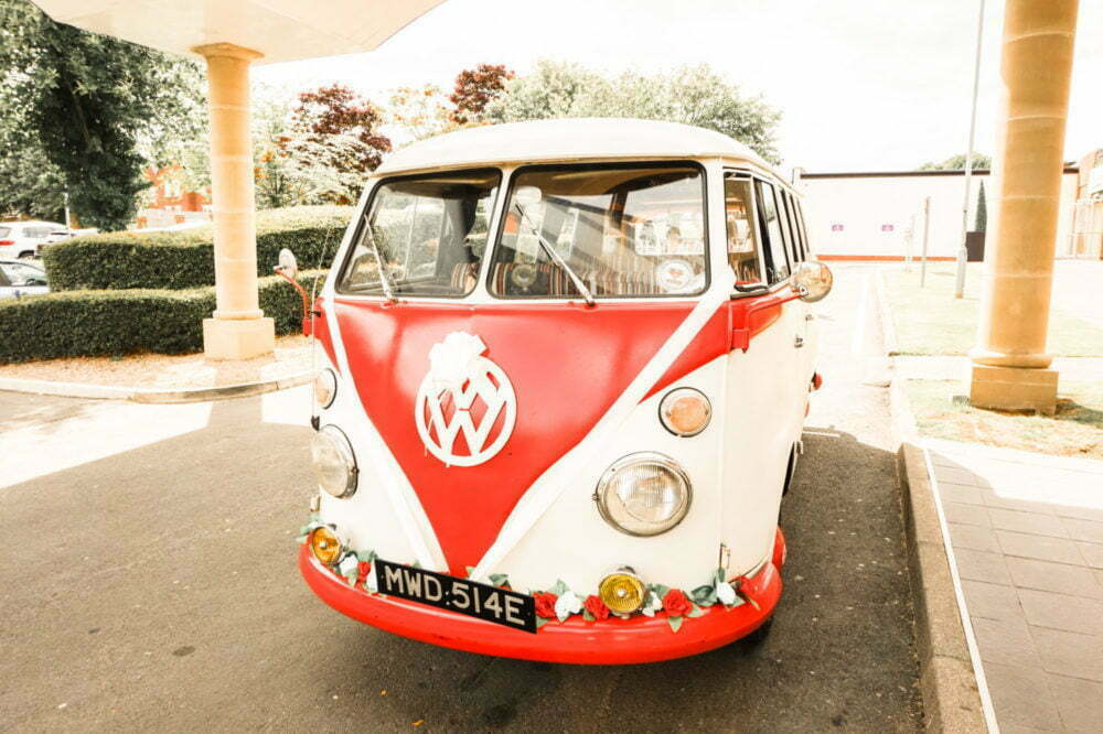 Red and White VW Wedding Van Front