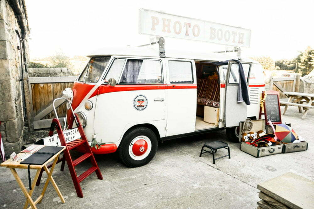 vintage campervan photo booth at barn wedding venues in north east england
