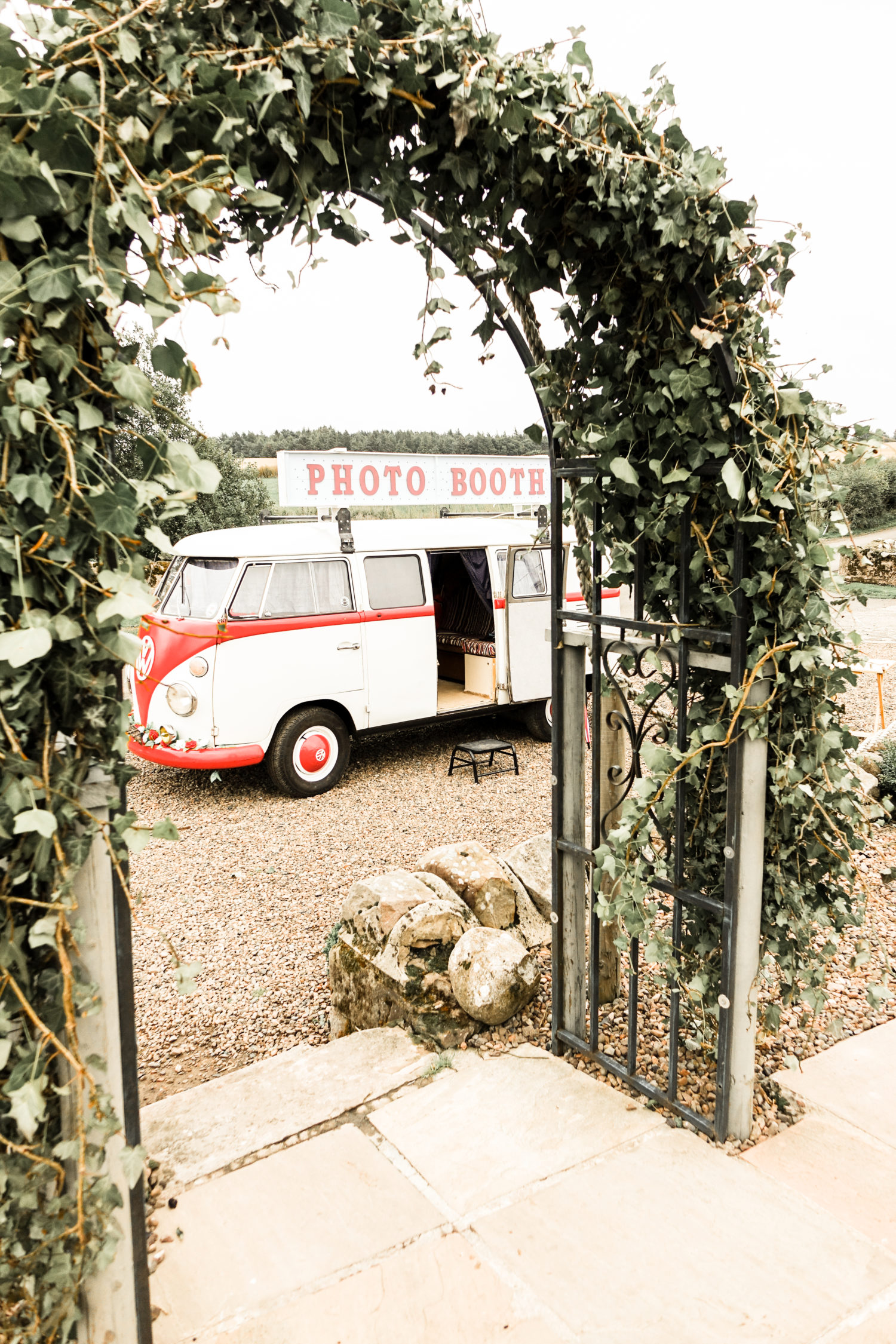 Vintage Campervan Photo Booth at Rustic Wedding Venue