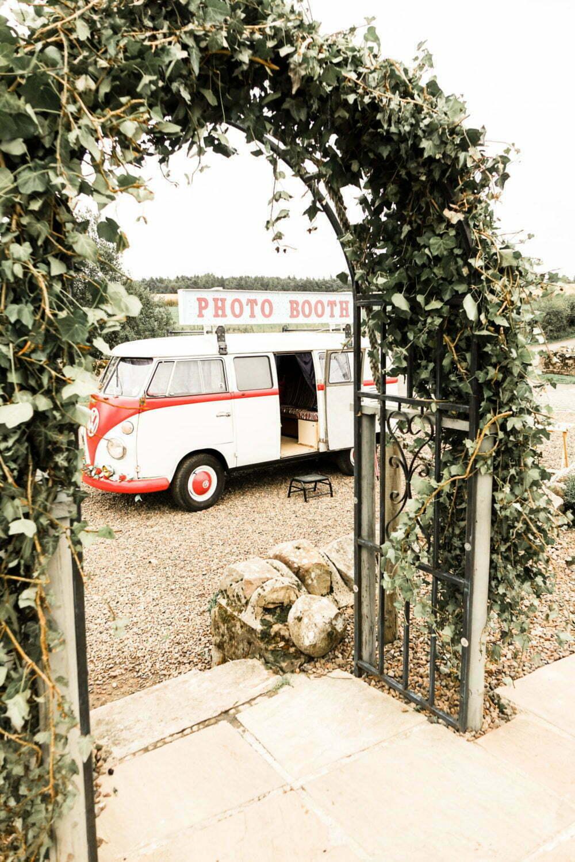 Vintage Campervan Photo Booth at Rustic Wedding Venue