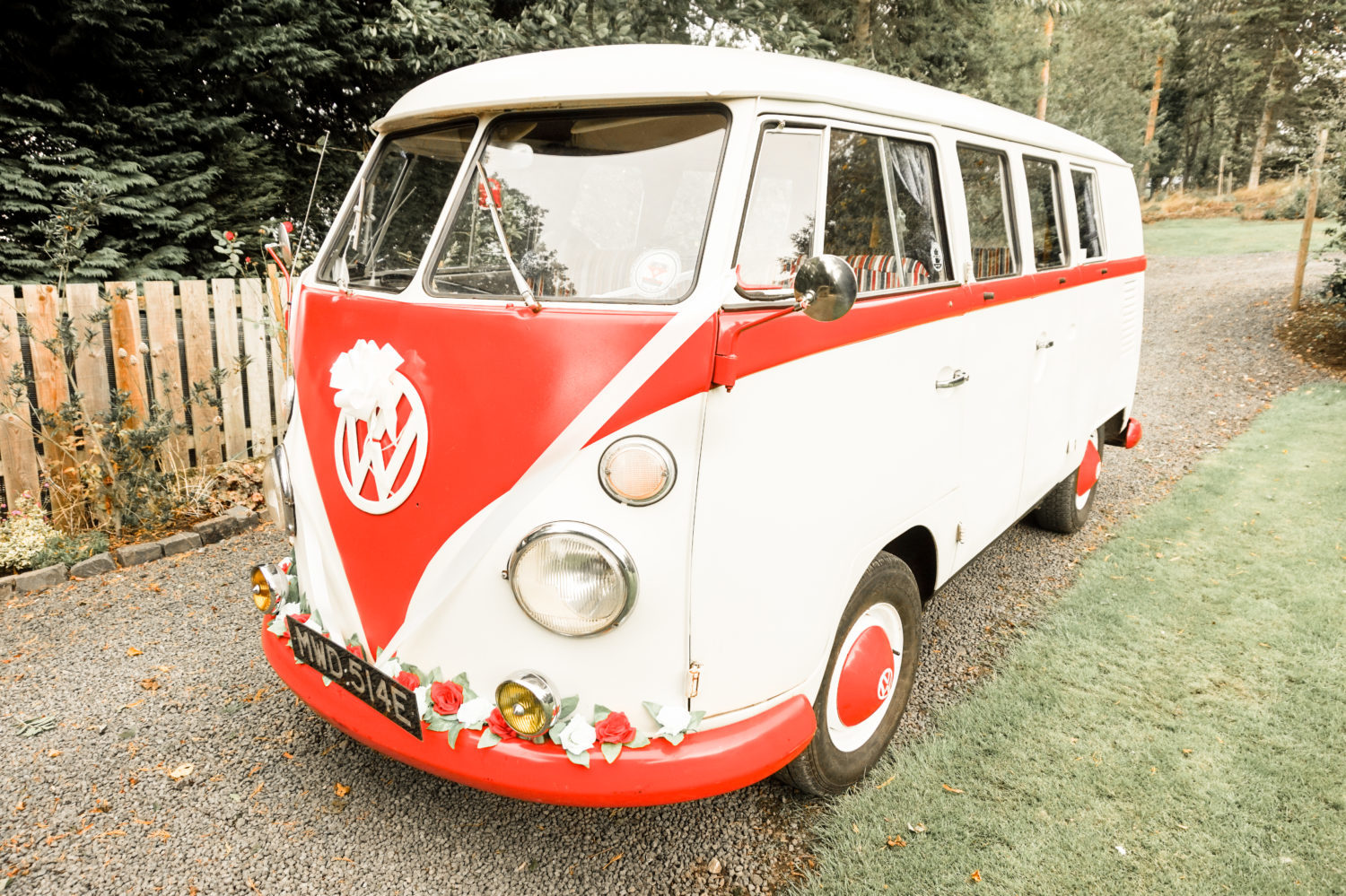 Volkswagen Campervan Wedding Car at Stanton Hall Morpeth