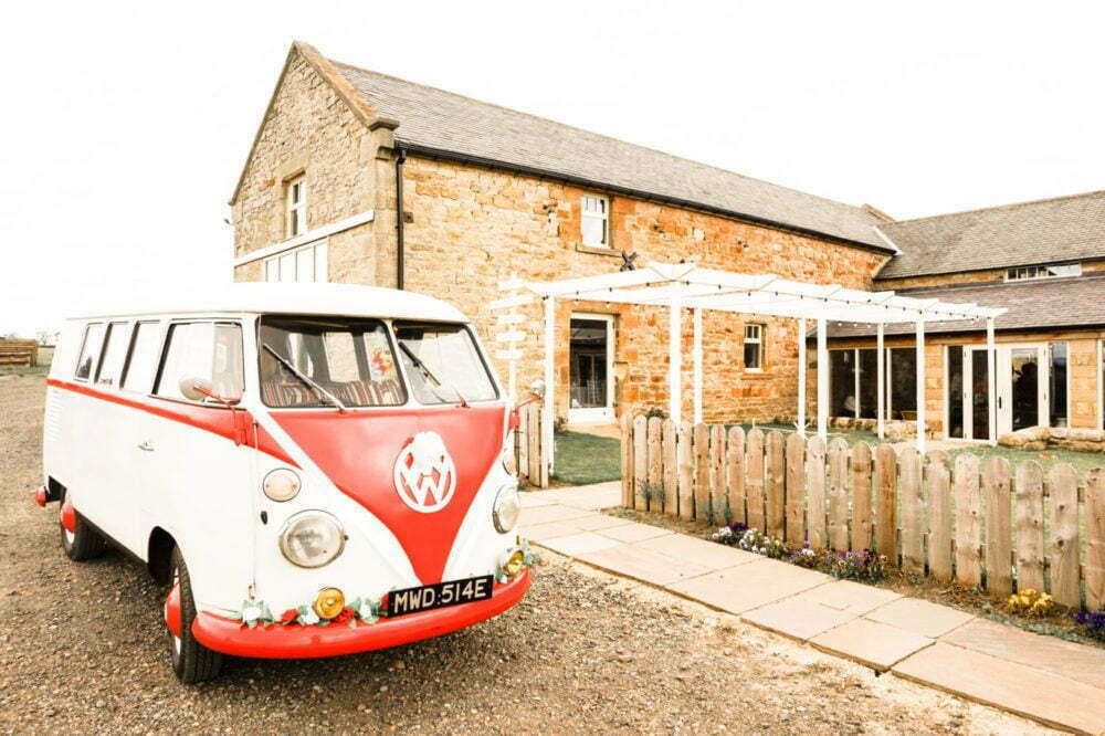 Splitscreen van outside Northside Farm Wedding venue North East