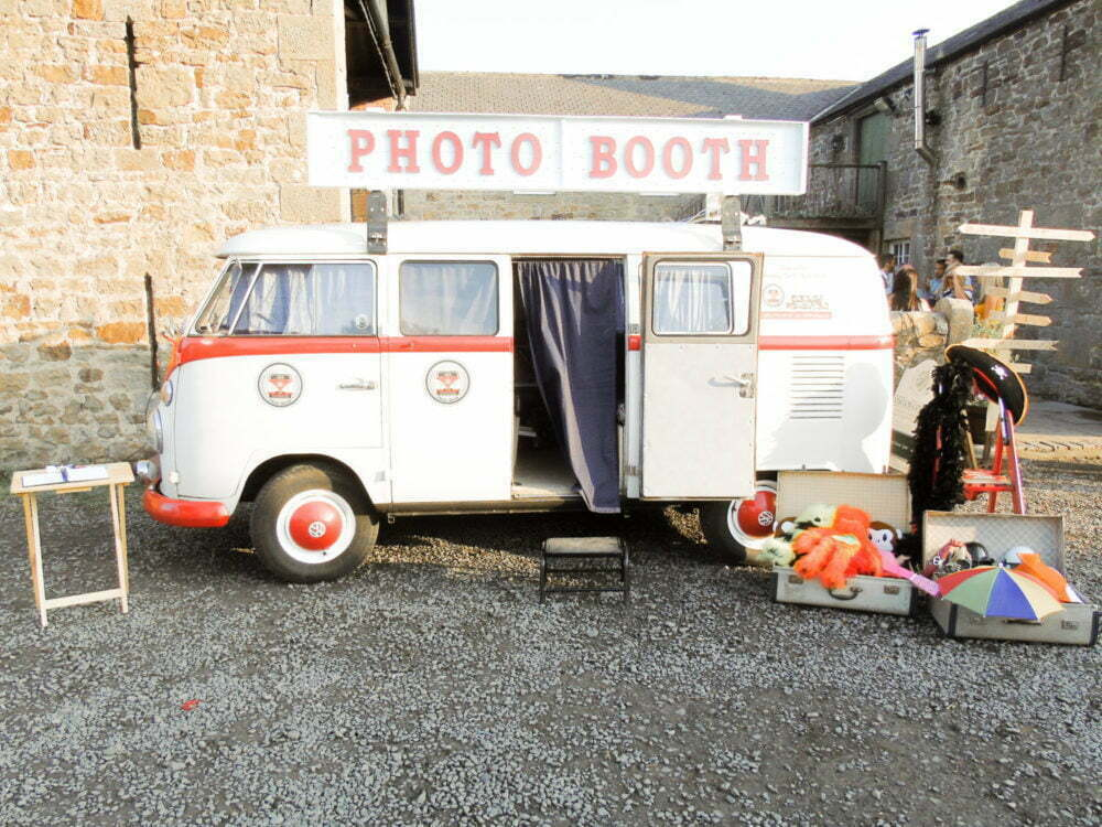 VW Van Photo Booth setup outside High House Farm Brewery wedding venue Newcastle upon Tyne