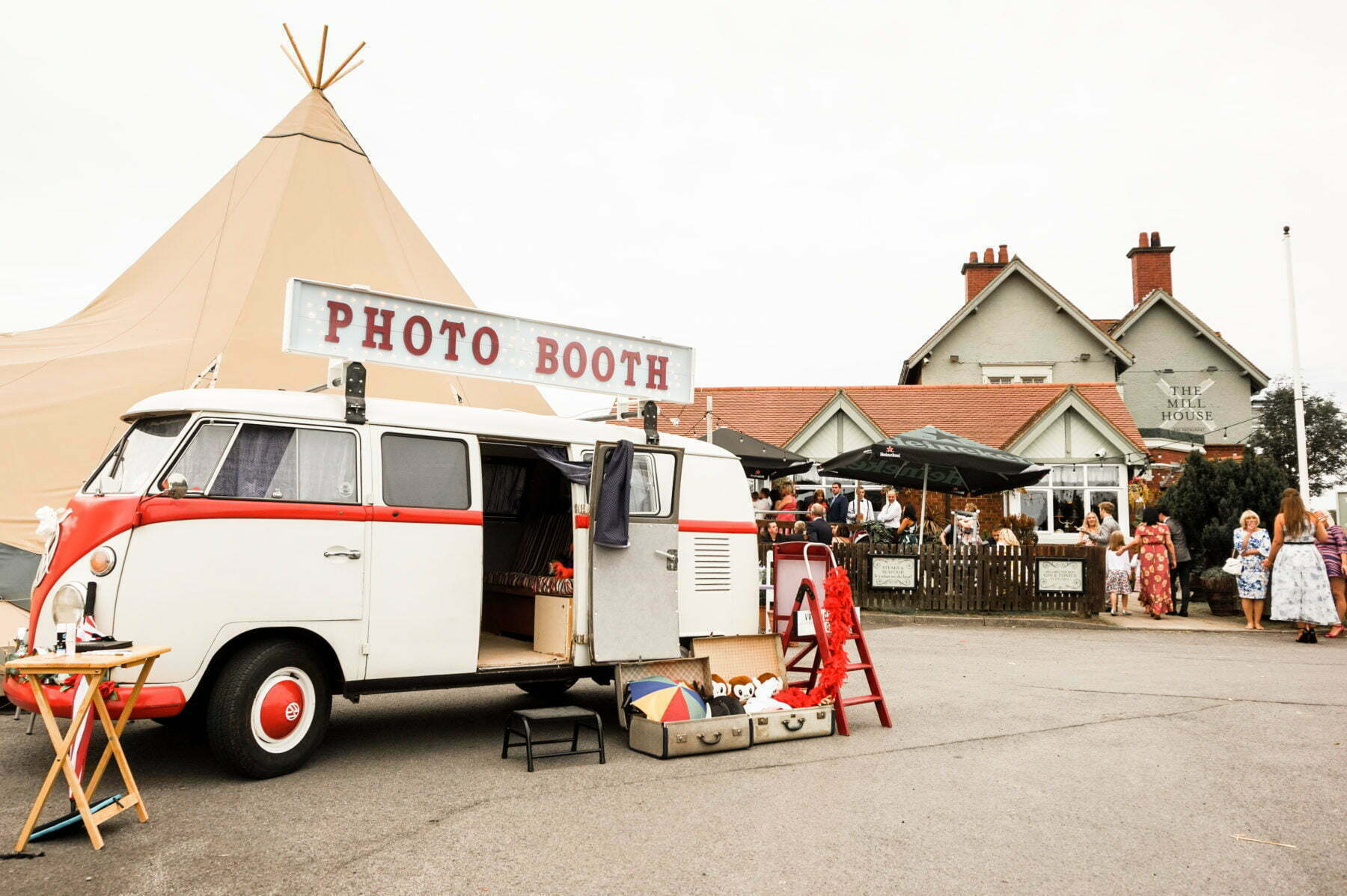 Split Screen VW Camper Wedding Photo Booth at Tipi Wedding Mill House Pub North East