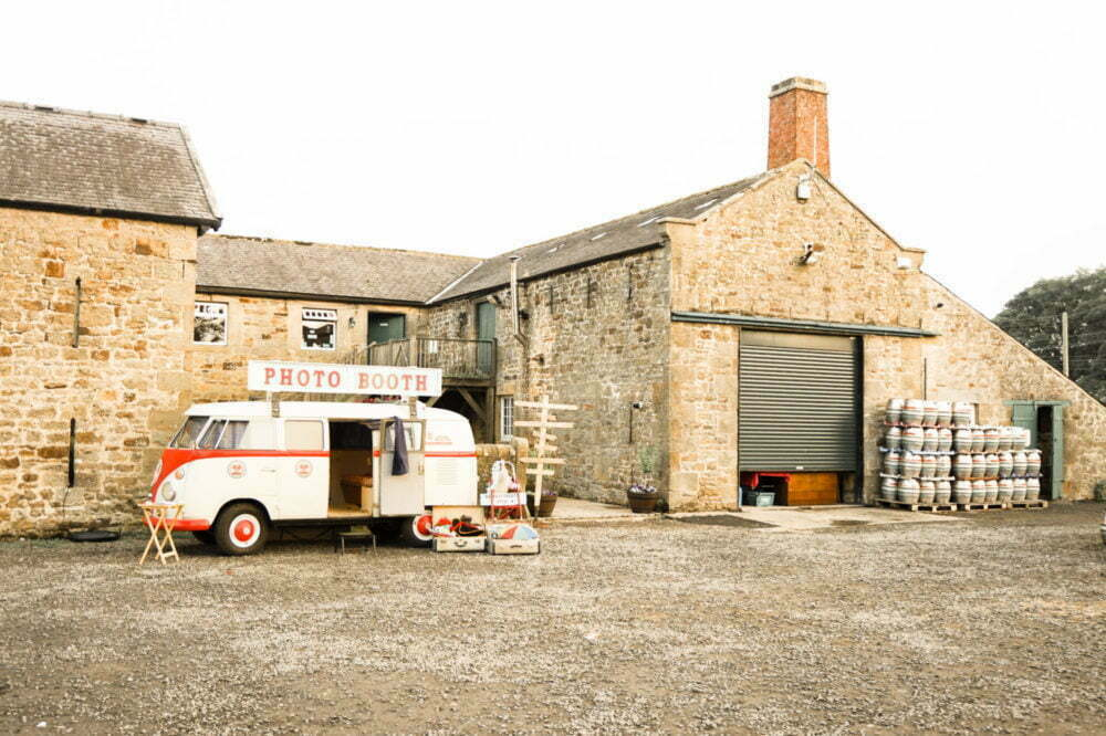 vintage vw camper van photobooth and beer kegs at Brewery Wedding