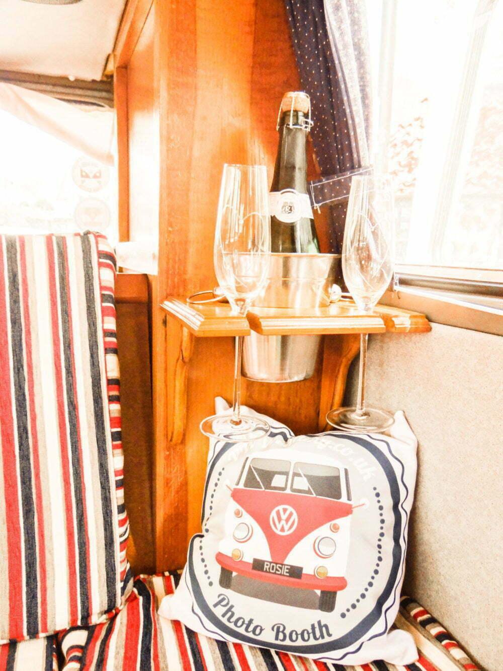 Camper Van Wedding Transport Interior champagne and glasses