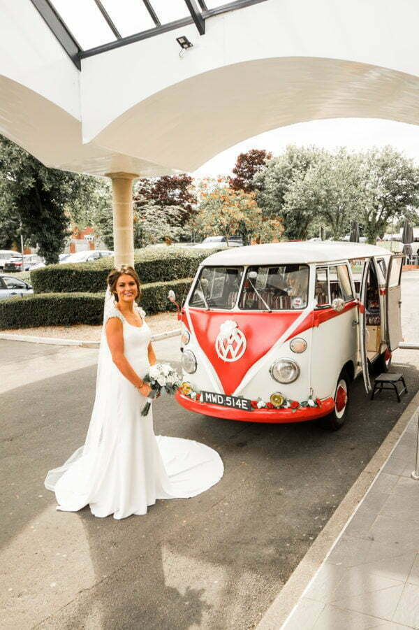 Bride in front Classic VW Campervan Wedding Transport at George Washington Hotel Newcastle North East