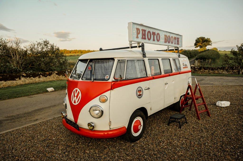 Campervan photobooth barn wedding venue