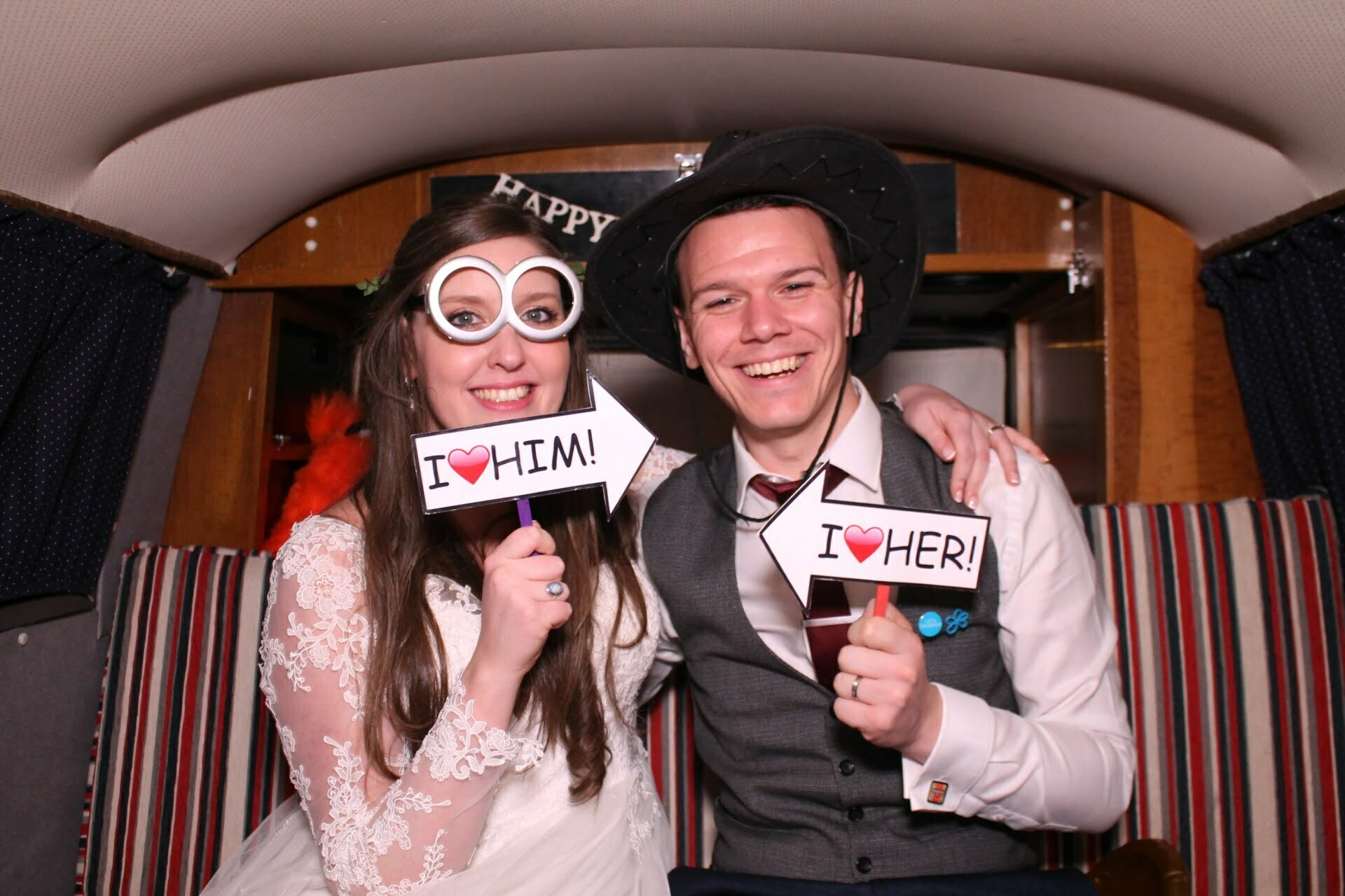 bride and groom photo booth picture