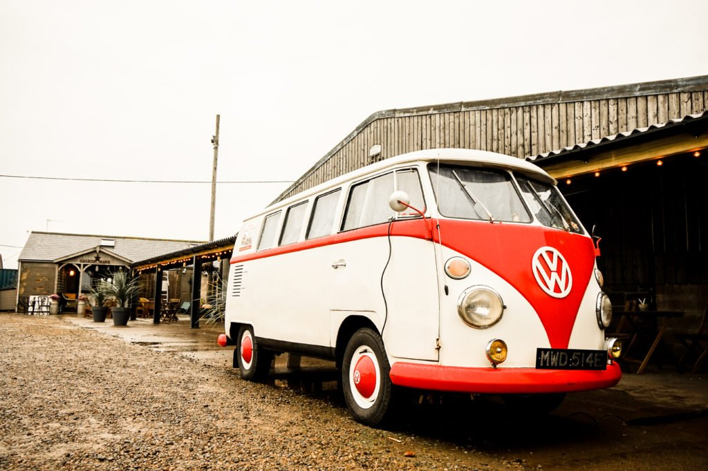 VW Camper at coastal farm wedding venue at Druridge Bay