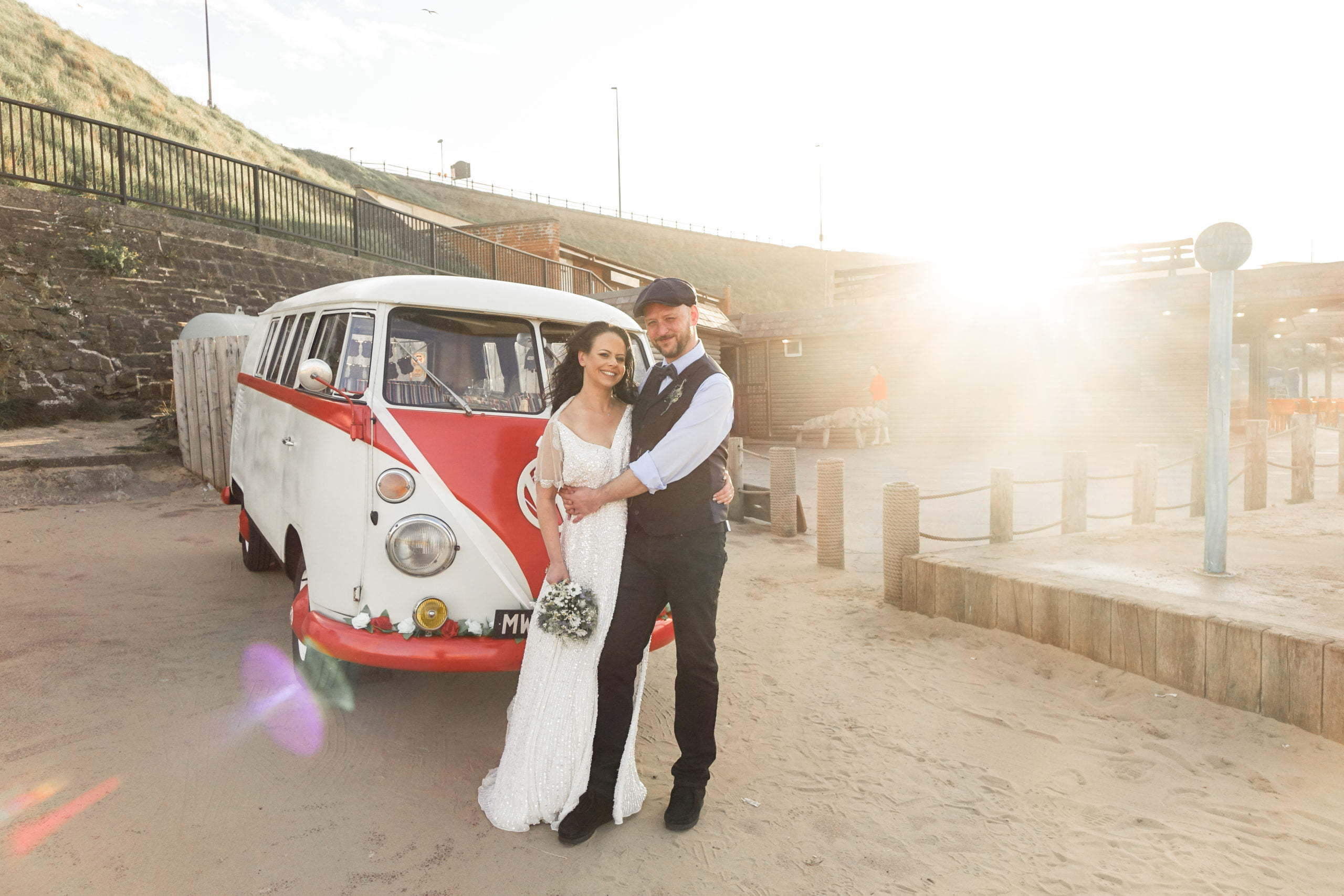VW Splitscreen beach wedding