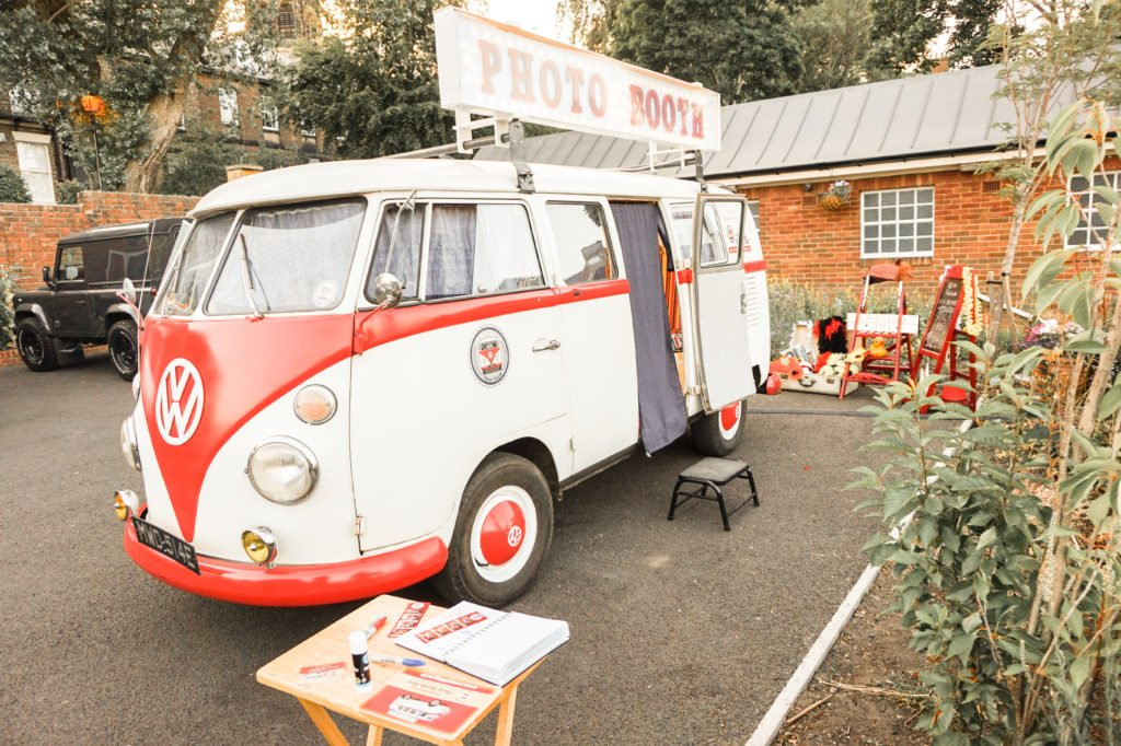 vw photo booth and guest book table