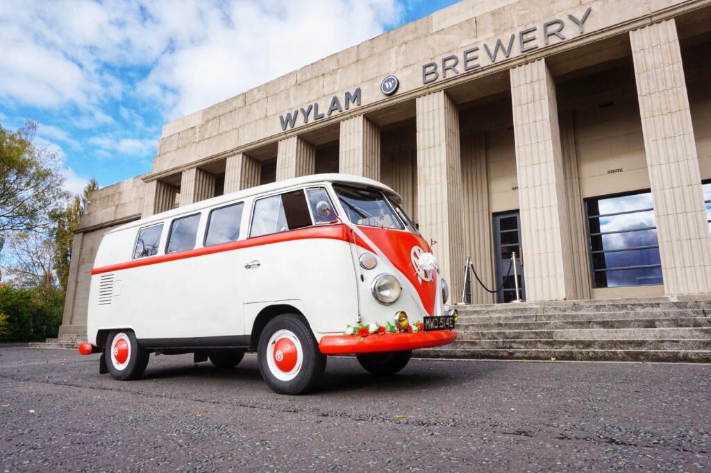 VW Camper Wedding Car outside Wylam brewery in Newcastle